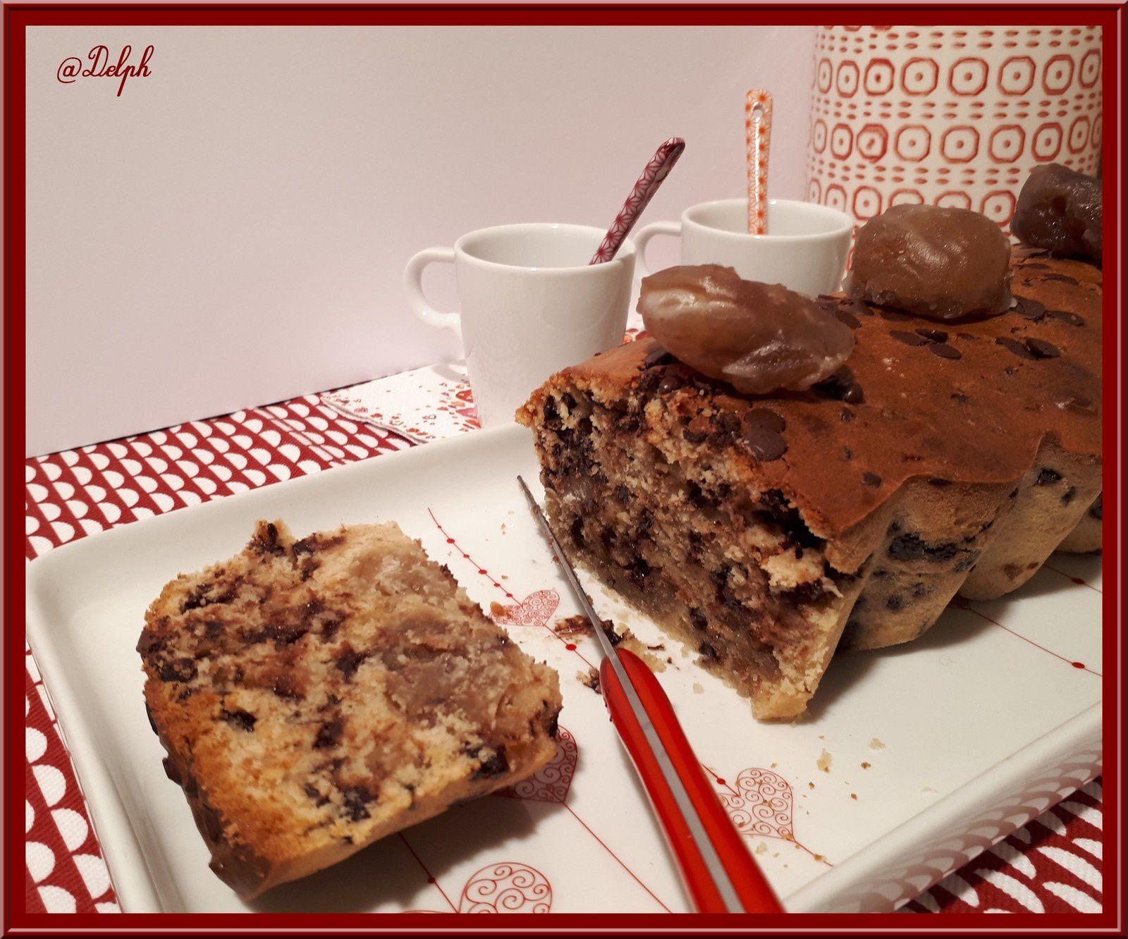 Cake aux pépites de chocolat et marrons glacés