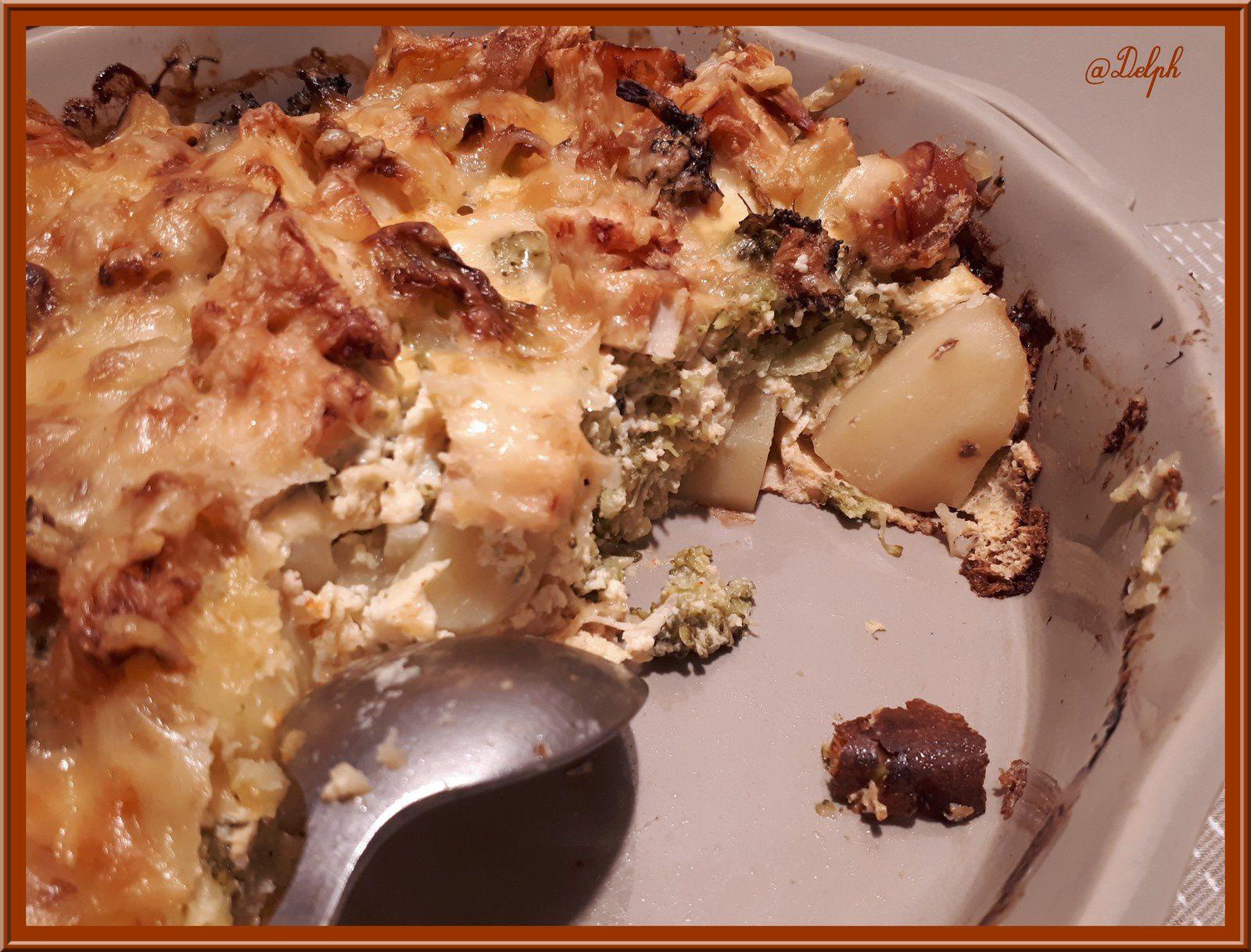 Quiche sans pâte aux Brocolis, Pommes de terre et Poulet rôti