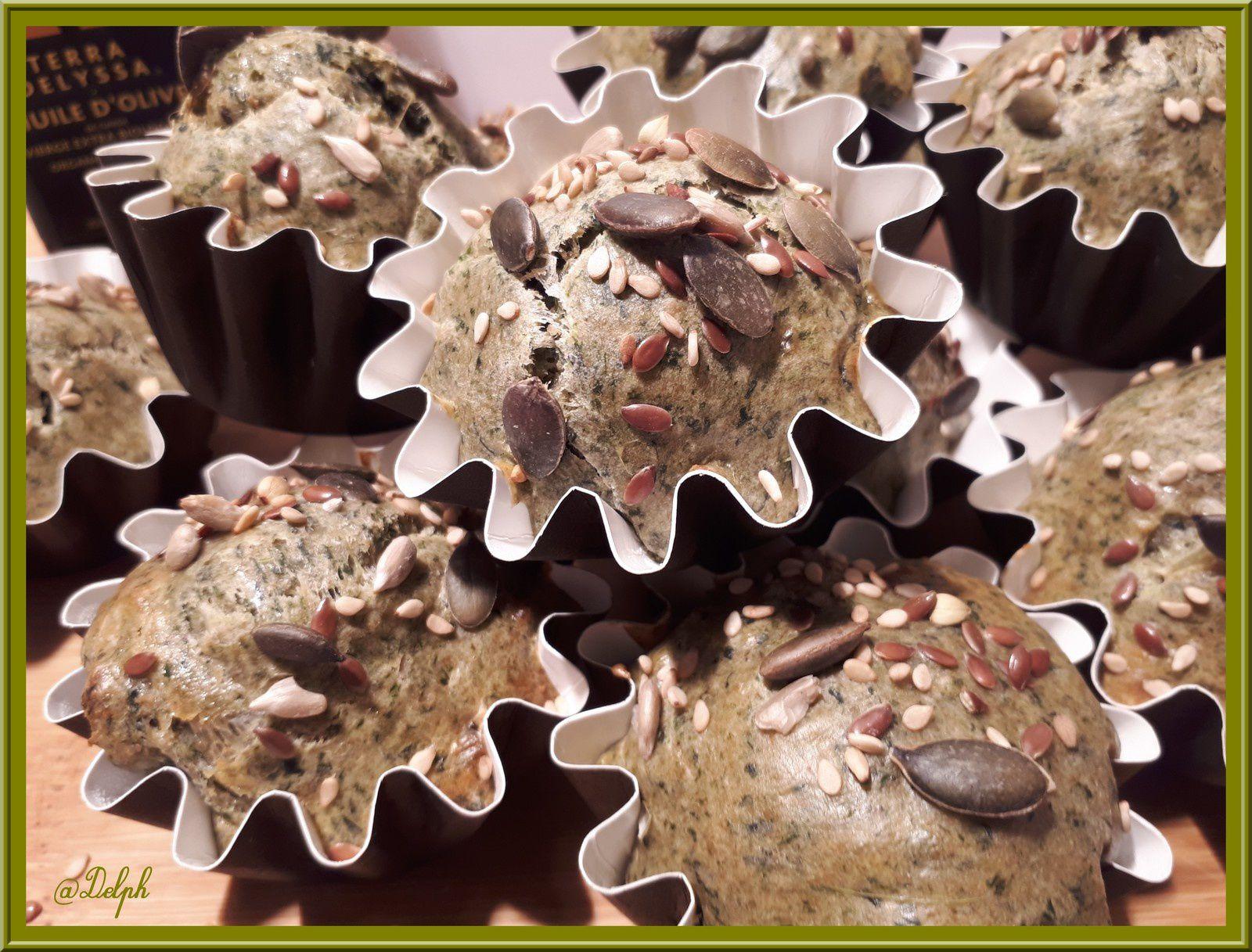Muffins aux épinards et aux graines