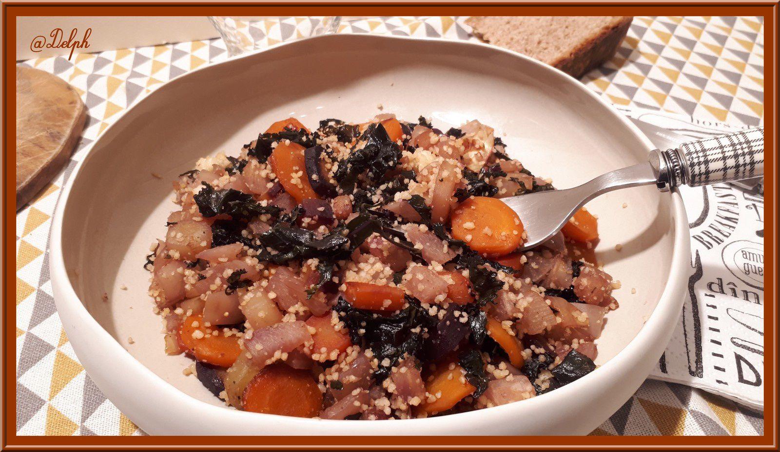 Poêlée de navet, carottes multicolores et chou Kale