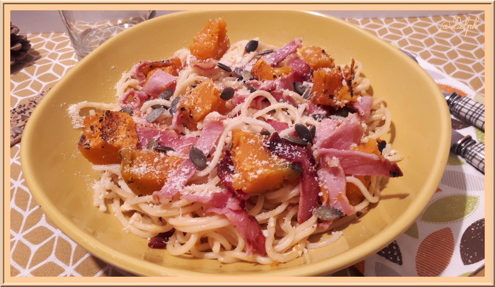 Spaghetti à la courge Shiatsu rôtie et Bacon