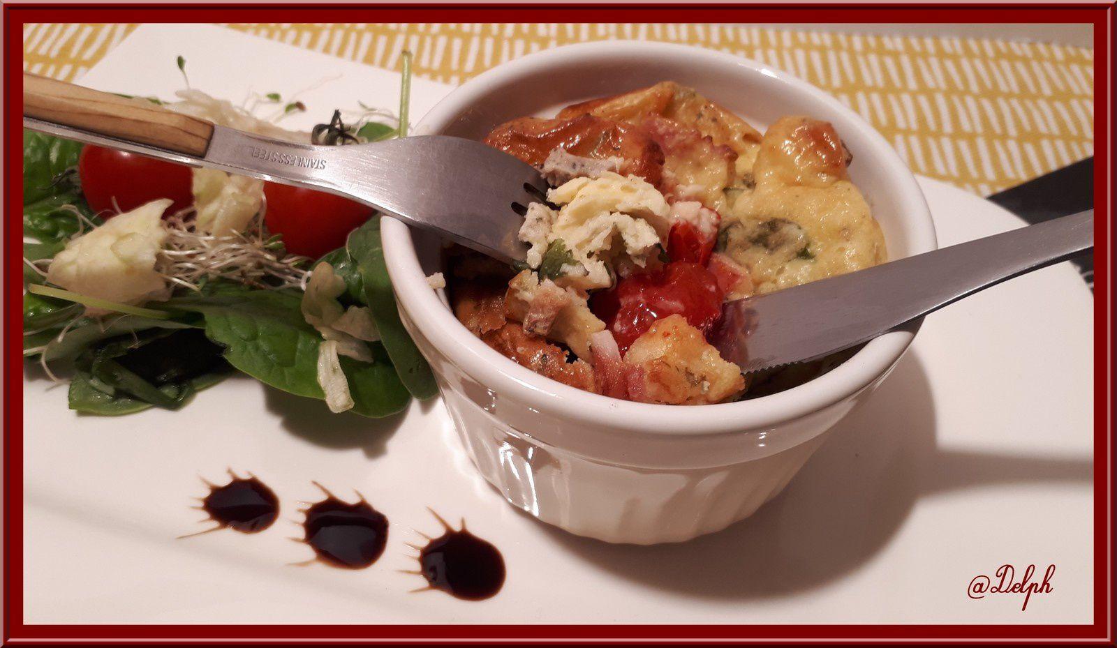 Clafoutis tomates, épinards et parmesan