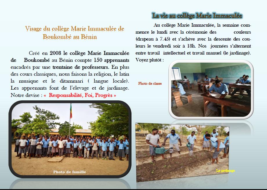 Collecte de Carême 2019 soutien du projet du père Victorin Yékou au Benin : collectes les 11 et 12 Mai 2019