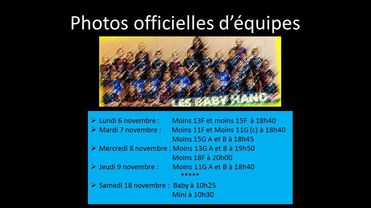 DATES DES PHOTOS OFFICIELLES D'EQUIPES