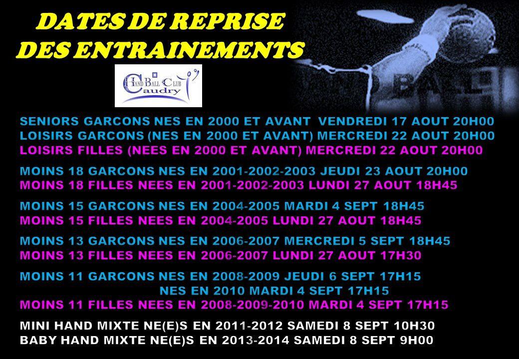 DATES ET HORAIRES DE REPRISE DES ENTRAINEMENTS SALLE COUBERTIN