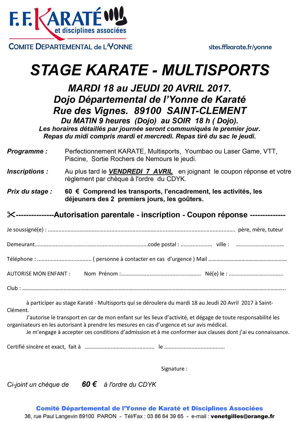 STAGE D'AVRIL