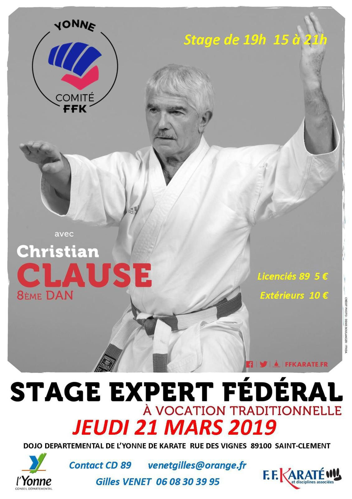 Stage Christian CLAUSE JEUDI 21 MARS