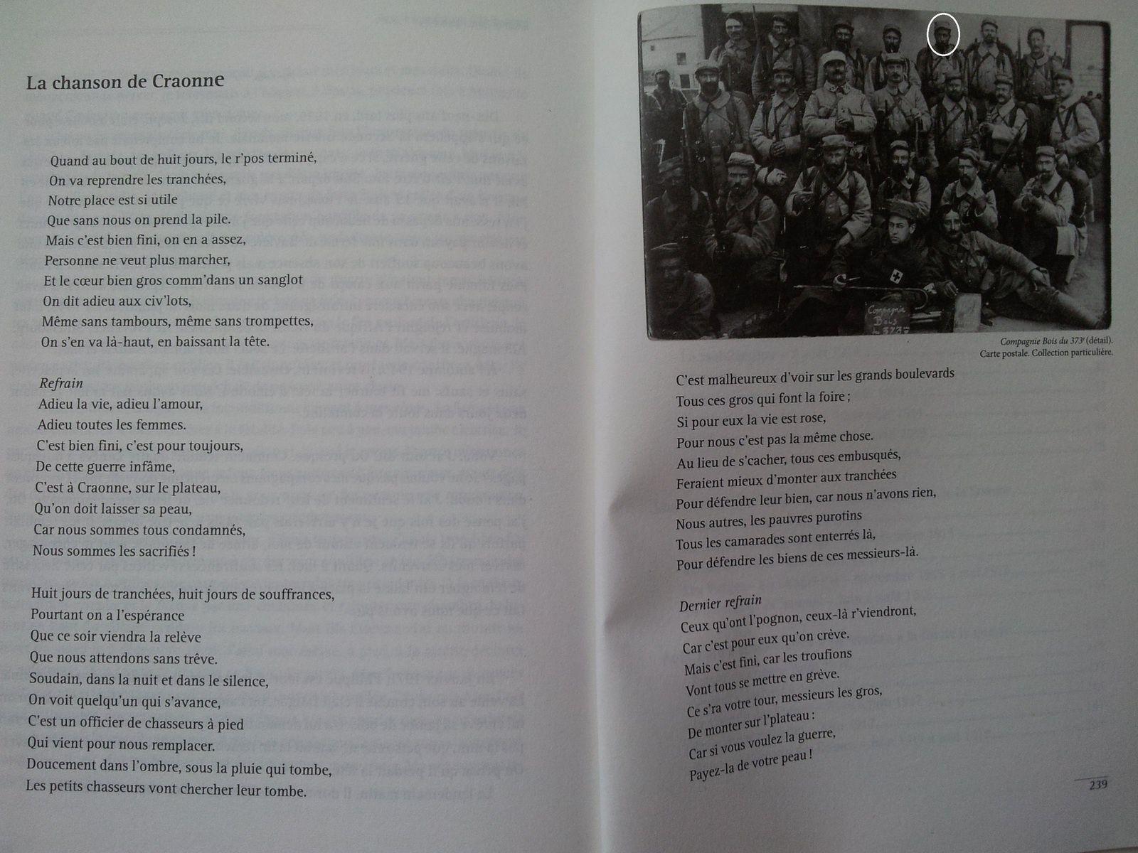Paroles de la chanson de Craonne et la seule photo de Filippu Leccia en habit militaire, et agrandie pour le faire figurer sur la couverture.