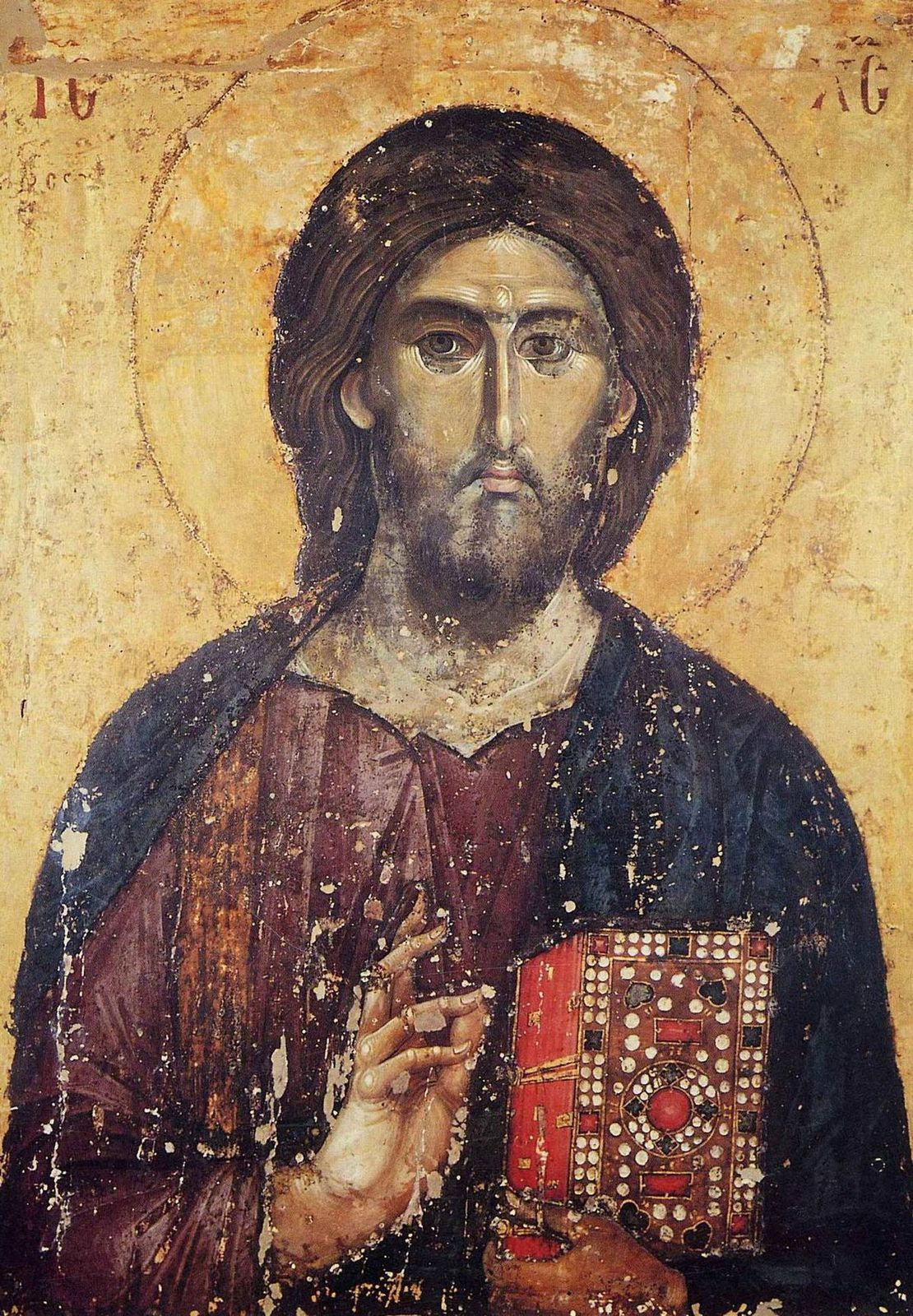 Christ Pantocrator du XIIe siècle -- http://www.video-du-net.fr/peinture/icones-celebres-jesus-christ.php