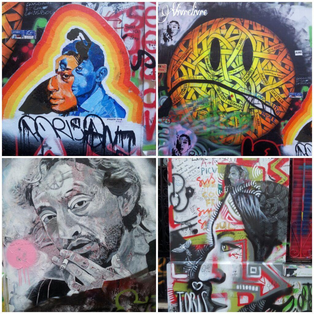 Pour la première fois, Le Salon du Livre de Paris, désormais appelé Livre Paris, s'est extériorisé. C'est Livre en Seine. Des auteurs, illustrateurs, chanteurs ont animé des ateliers pour les enfants ce week-end. Nous y avons été le dimanche. Il faisait beau et le trio a pu faire un ou deux ateliers: http://horslesmurs.livreparis.com/accueil/ En repartant, nous avons été voir les tags et graffitis figurant sur la maison de Serge Gainsbourg.