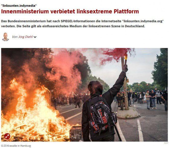 Allemagne : le gouvernement interdit la plateforme de gauche radicale Indymedia (Arrêt sur images)