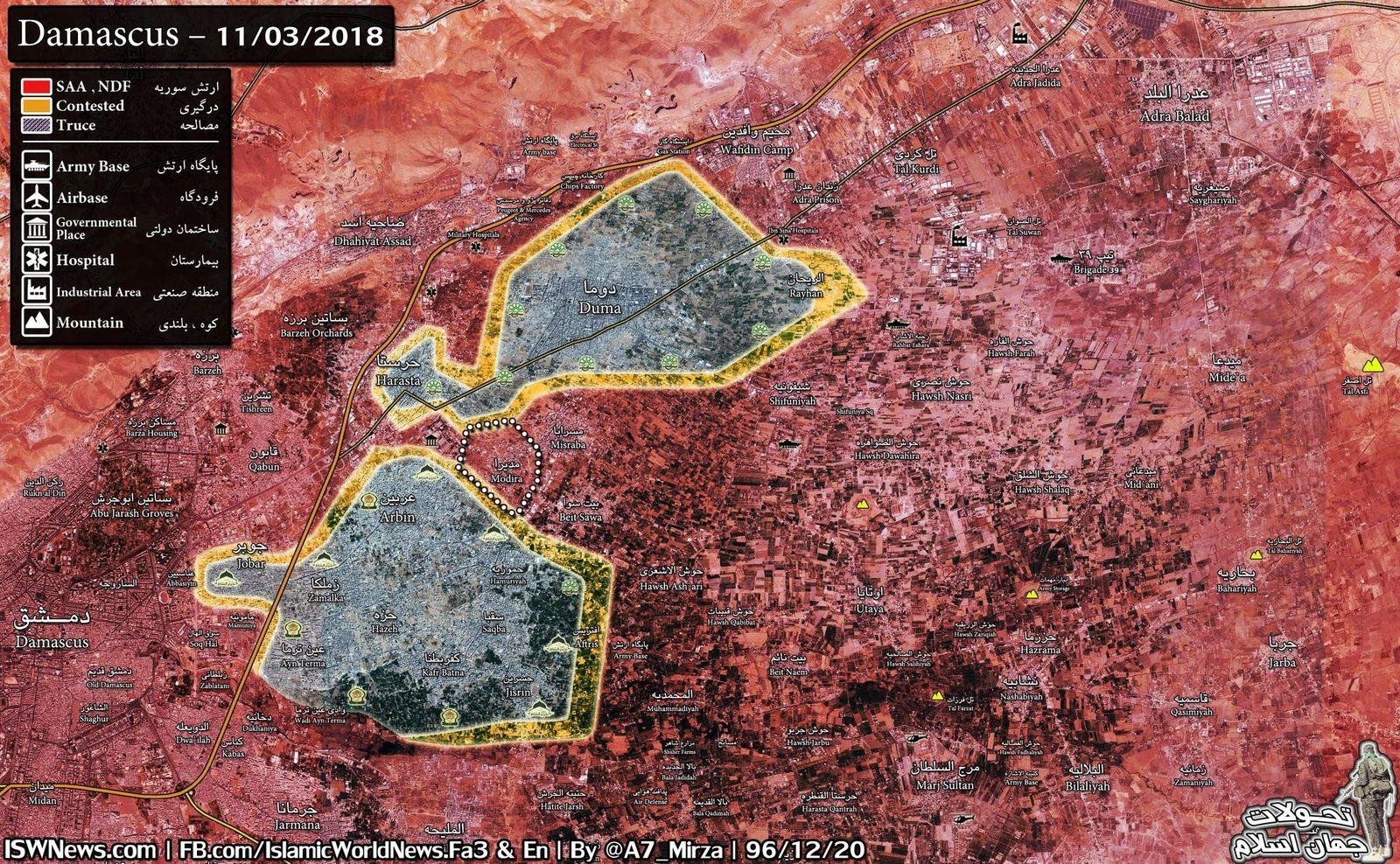 [Carte, vidéo] Des médias accusent l'armée syrienne d'utiliser des armes chimiques après l'effondrement de la défense des militants de la Ghouta Est (Southfront)
