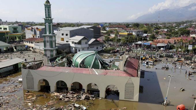 a mosquée de Palu a été fortement endomagée. Tatan Syuflana/AP