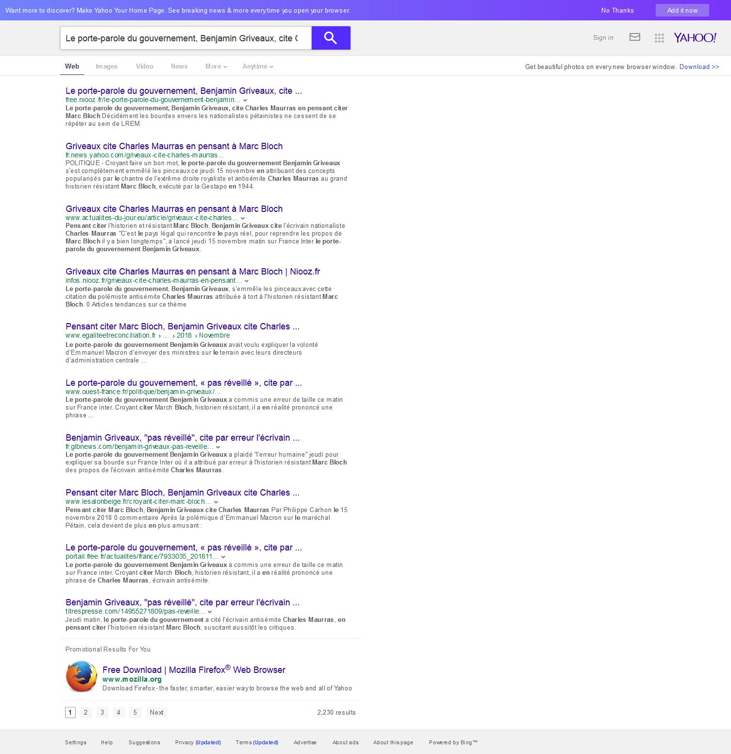 Les articles de SLT toujours déréférencés sur Yahoo, Bing, Duckdukgo, Qwant...