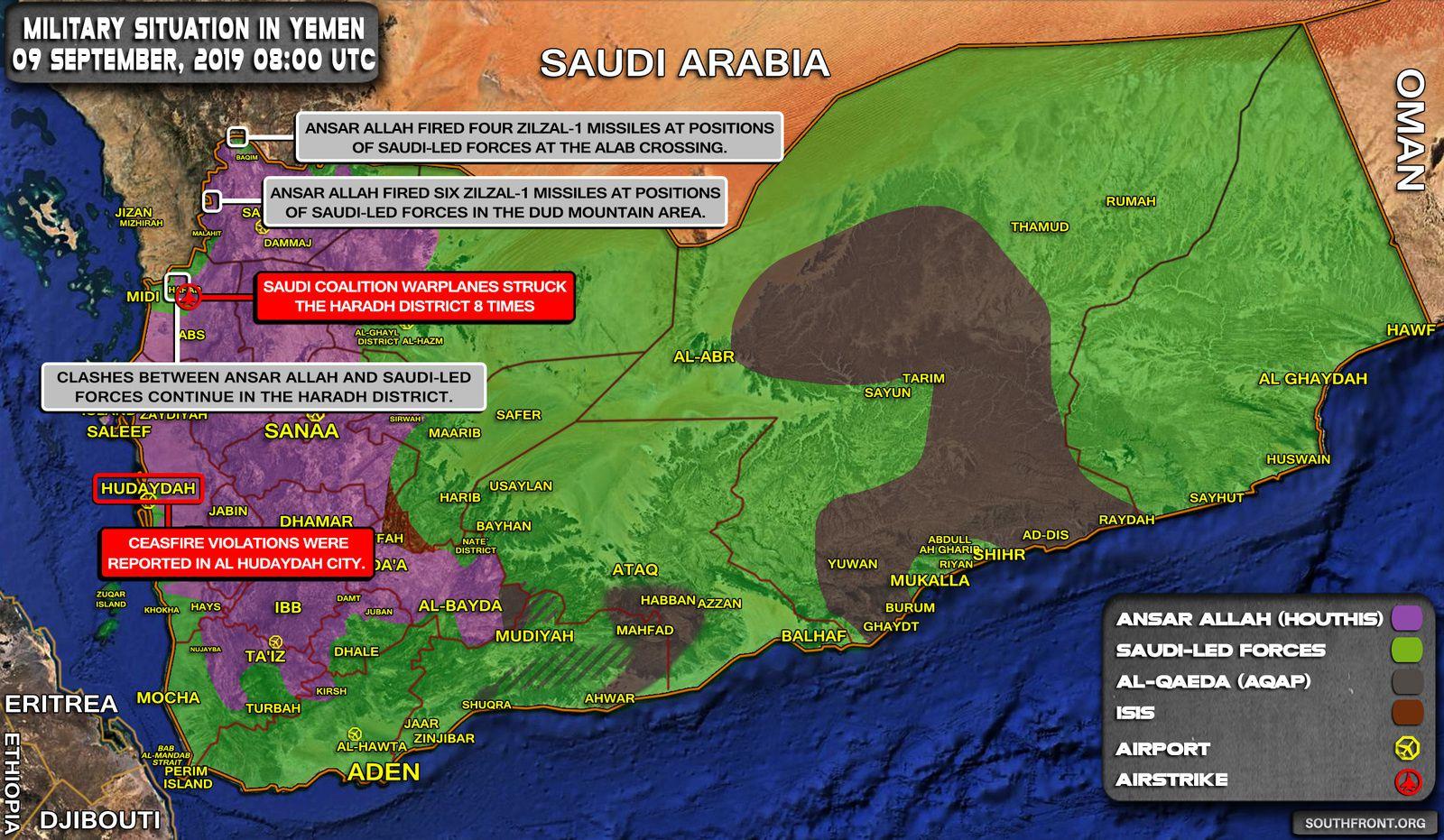 Situation militaire au Yémen au 9 septembre 2019 (Southfront)