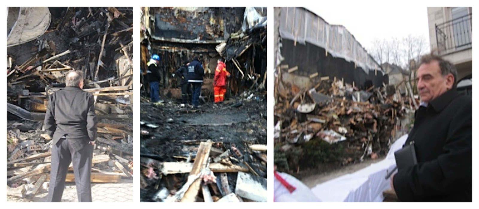 Ari Ben-Menashe examine les dégâts causés à sa maison après qu'elle ait été mystérieusement incendiée. Photos | Robert Parry