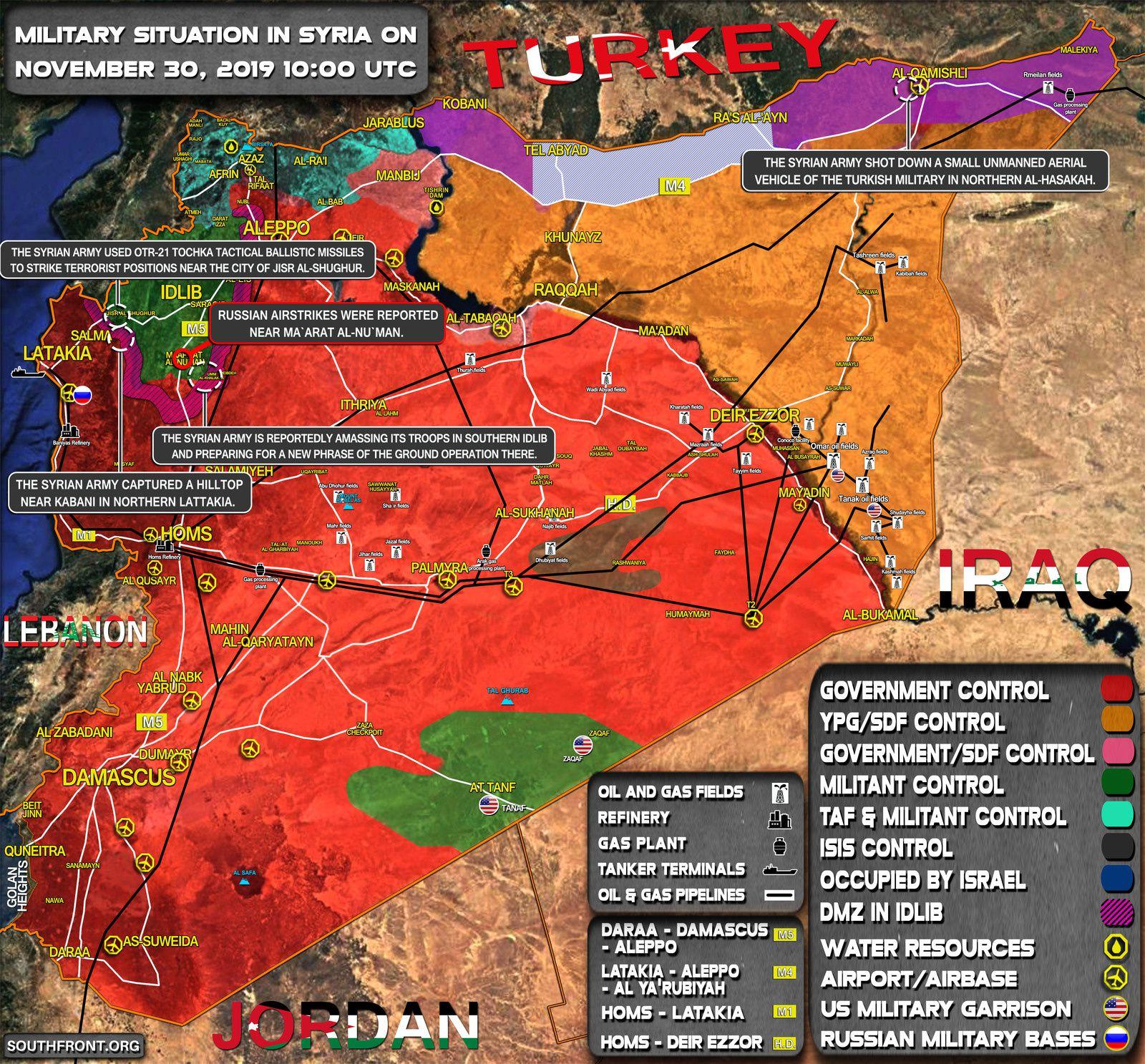 Situation militaire en Syrie au 30 novembre 2019 (Southfront)