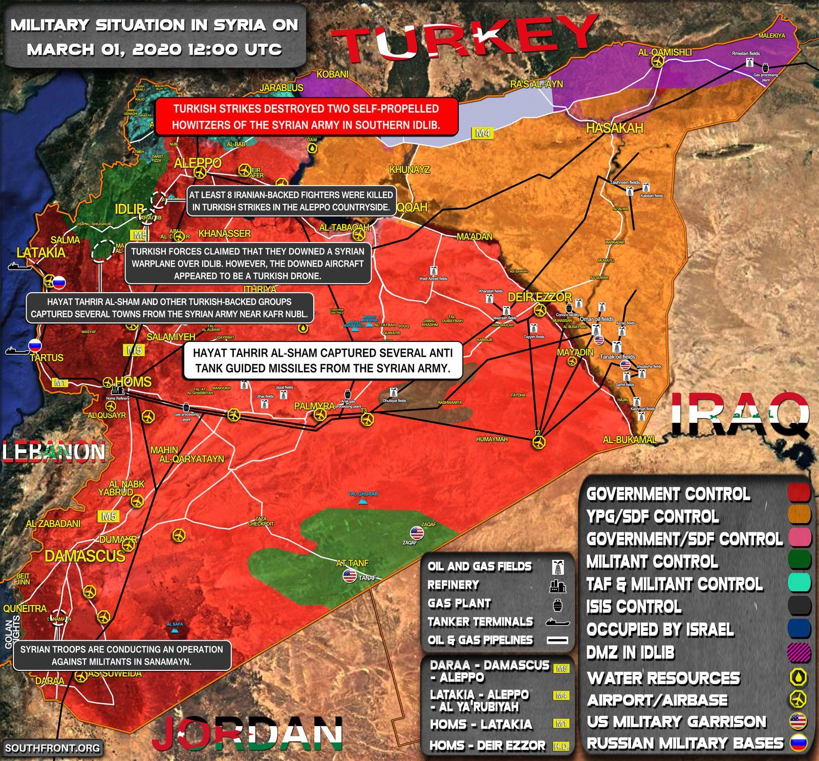 Situation militaire en Syrie au 1er mars 2020 (Southfront)