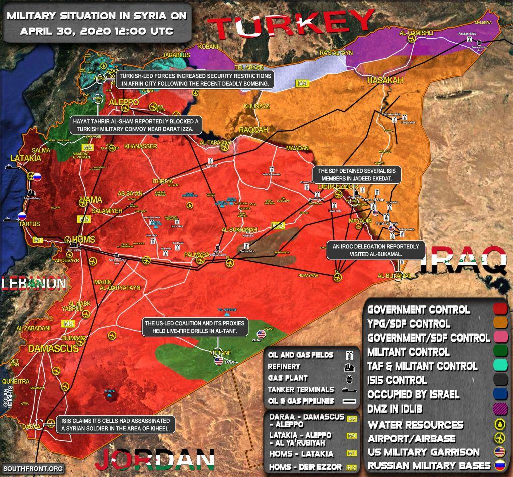 Situation militaire en Syrie au 30 avril 2020 (Southfront)
