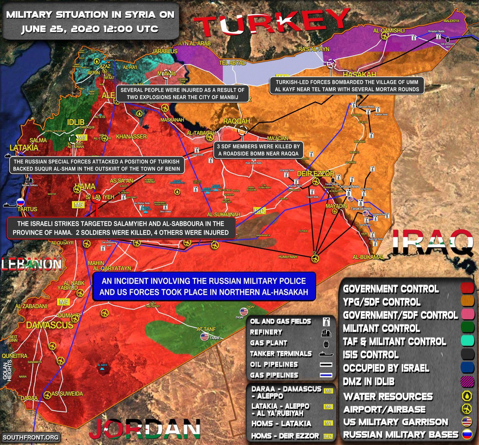 Situation militaire en Syrie au 25 juin 2020 (Southfront)