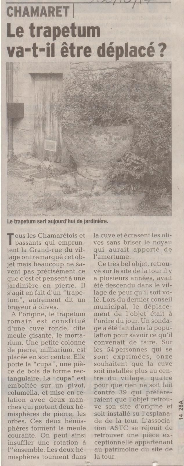 """C'est cet article du Dauphiné Libéré du 12/10/2017 qui m'a mis sur la piste du """"Trapetum de Chamaret"""", merci à eux!"""