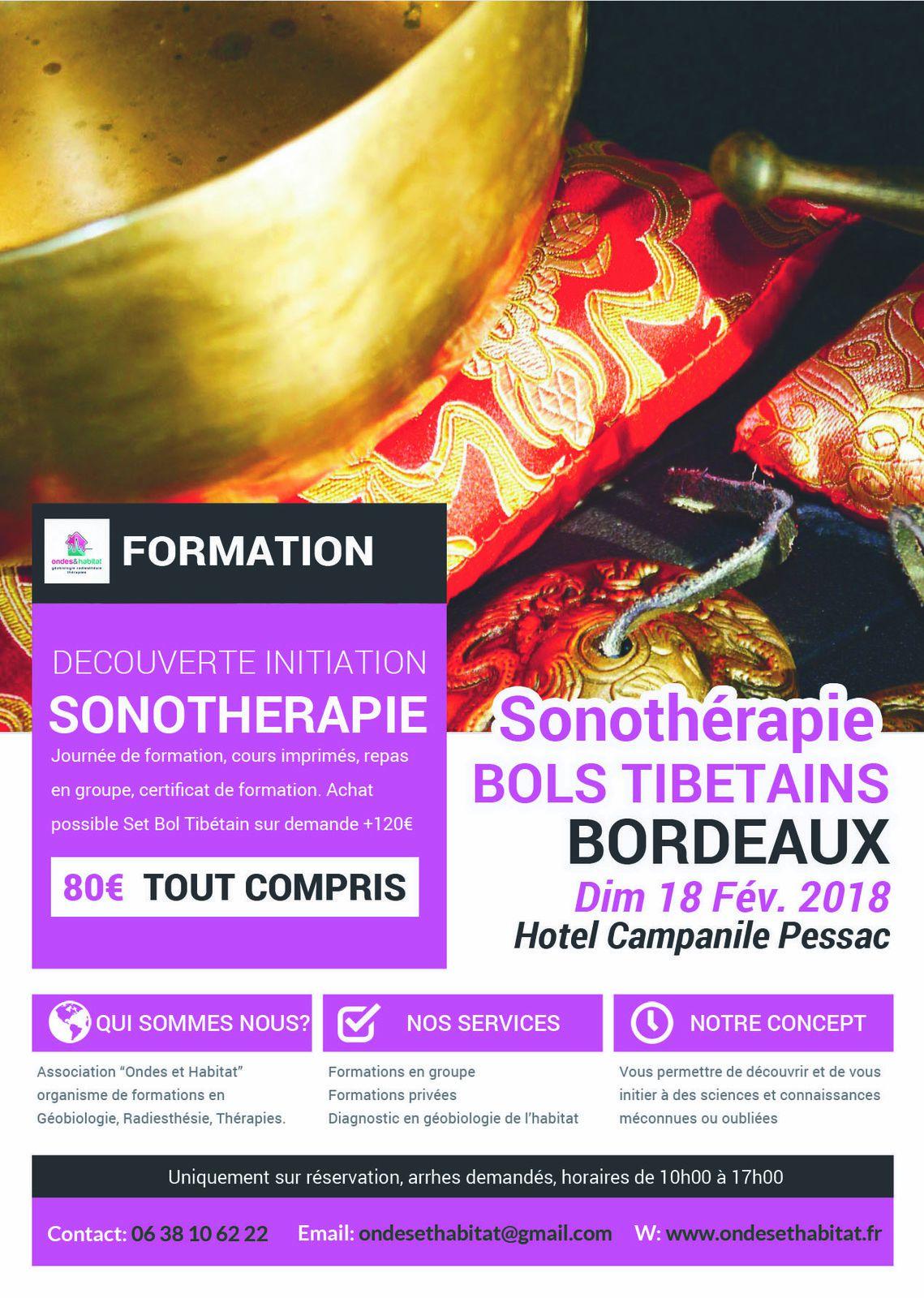 """BORDEAUX-Formation Sonotherapie """"BOLS TIBETAINS, utilisation CORPS et CHAKRAS"""" Dimanche 18 Février 2018"""