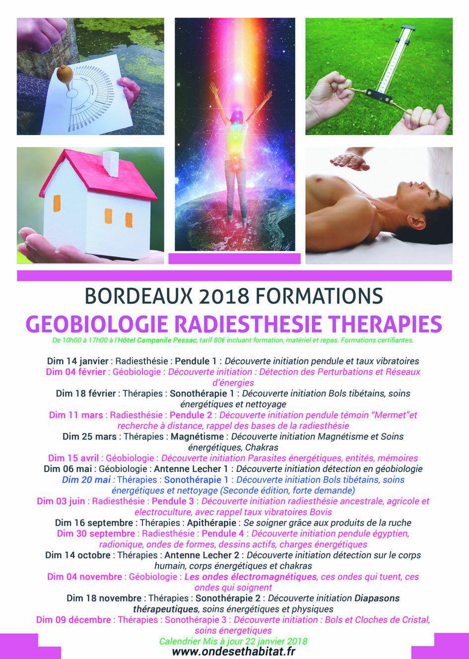 Calendrier 2018 Formations Soins Energétiques Thérapies radiesthésie Géobiologie pour Bordeaux ef Bayonne Mis à jour au 22 01 2018
