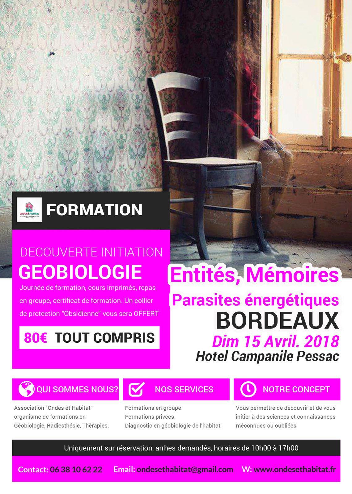 """BORDEAUX-Formation Découverte Initiation : """"ENTITÉS, MEMOIRES & PARASITES"""" 15 avril 2018"""