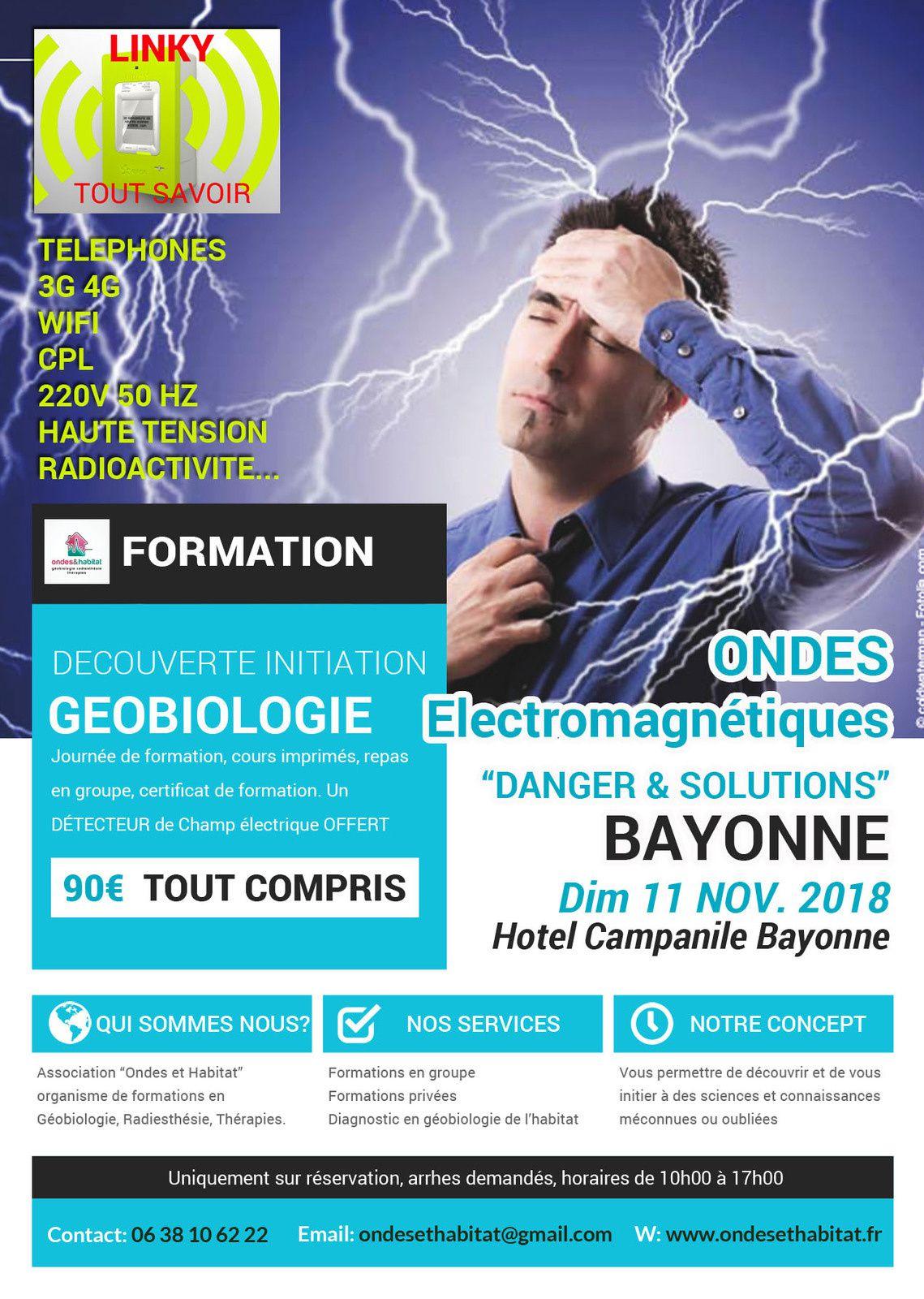 """BAYONNE Formation Géobiologie : """"Ondes Electromagnétiques, Danger & Solutions"""" Découverte initiation"""