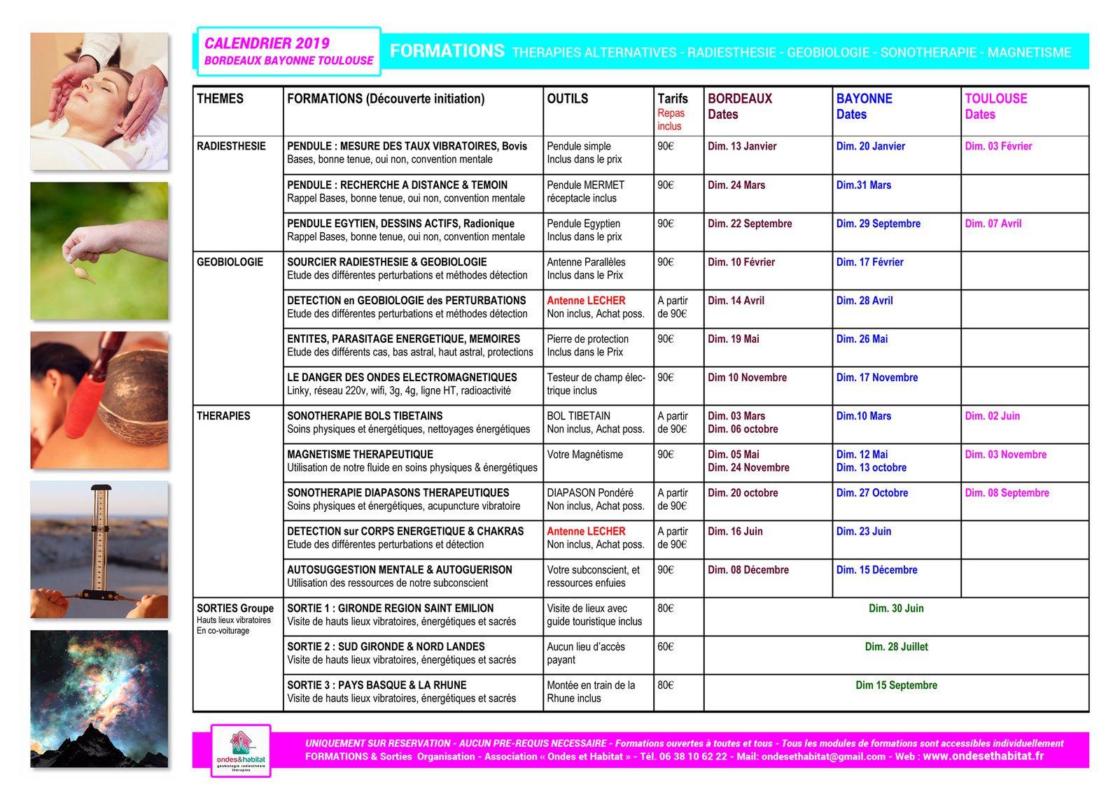 CALENDRIER 2019 FORMATIONS à BORDEAUX, BAYONNE & TOULOUSE : Radiesthésie, Géobiologie, Thérapies Alternatives ou Complémentaires