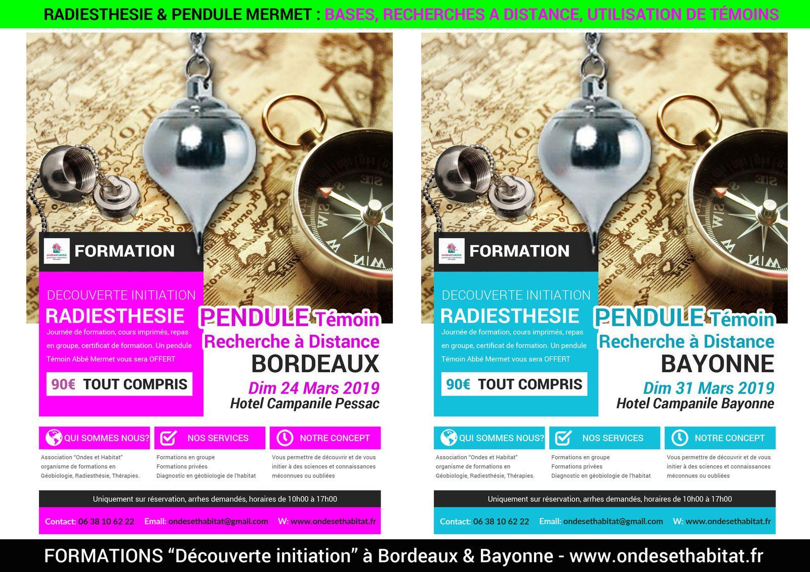 Formation Radiesthésie Pendule Mermet Recherche à Distance, témoin, à Bordeaux ou Bayonne, Aquitaine-Limousin-Poitou-Charentes