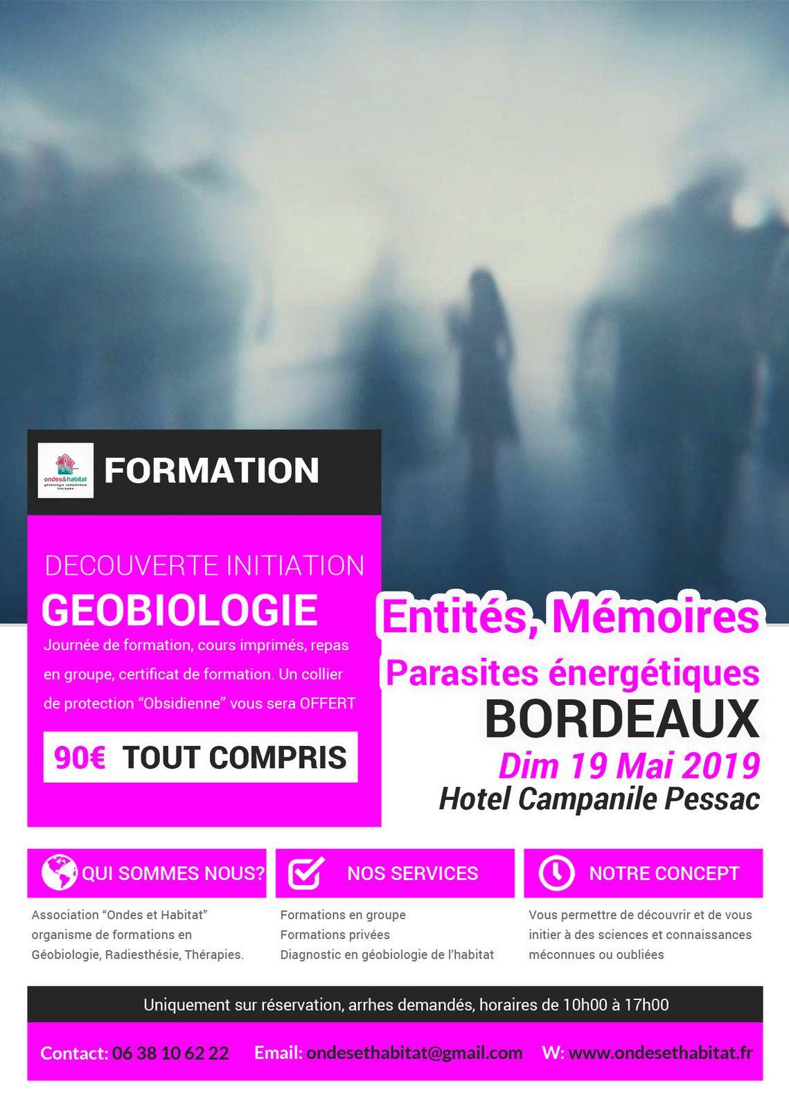 """BORDEAUX Formation Géobiologie & Thérapies : """"ENTITÉS, MEMOIRES & PARASITES ÉNERGÉTIQUES """" 19 mai 2019"""