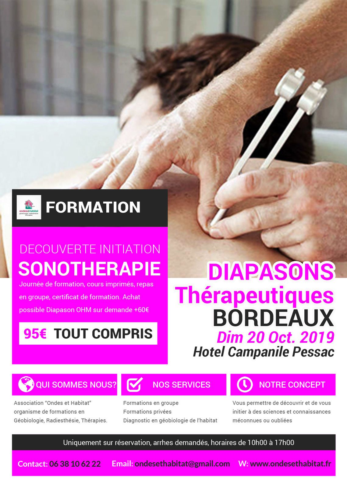 """Bordeaux Formation Sonotherapie : """"DIAPASONS Thérapeutiques pondérés » Dim. 20 Oct. 2019"""