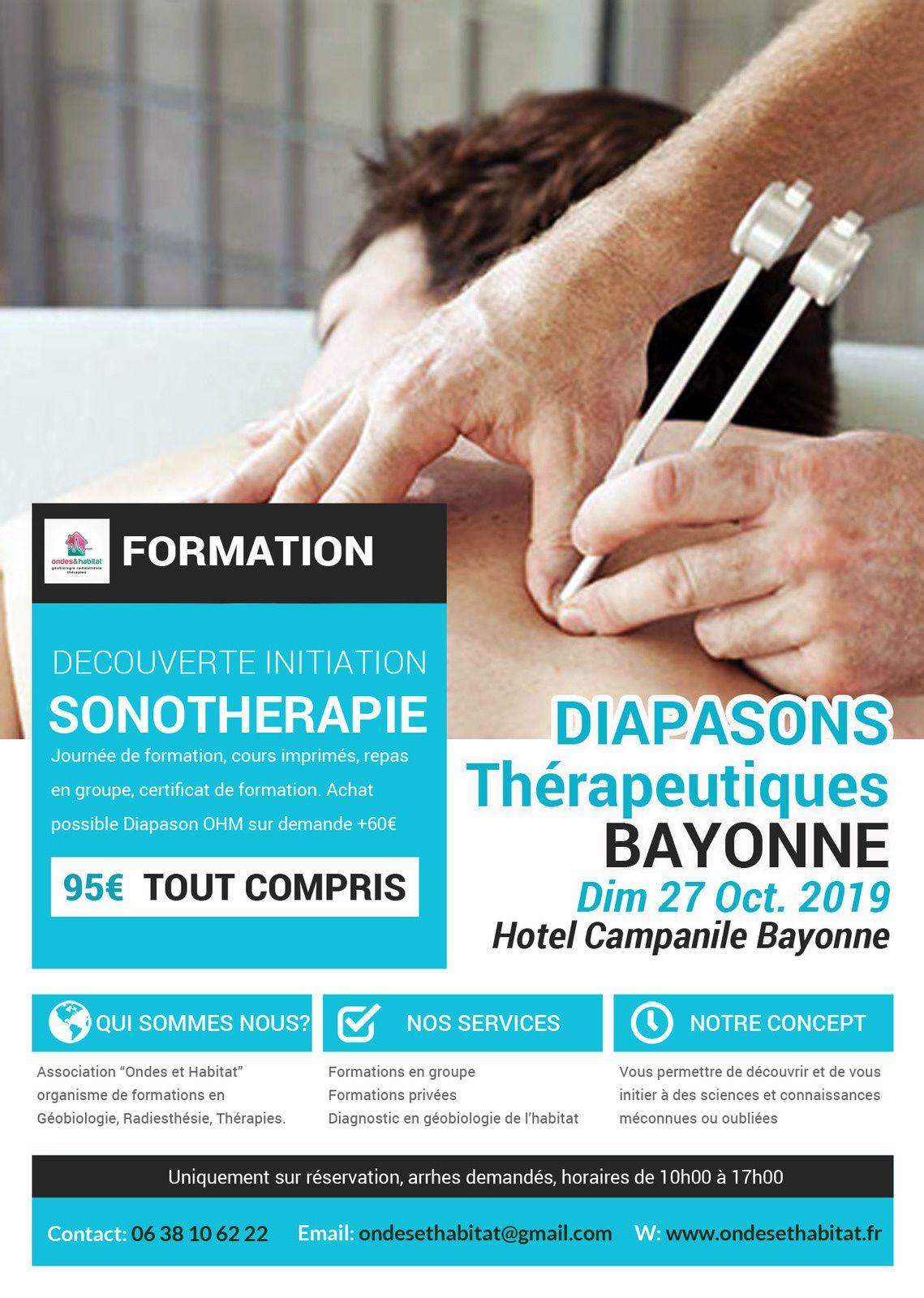 BAYONNE Formation Sonotherapie : DIAPASONS Thérapeutiques pondérés Dim 27 Oct. 2019