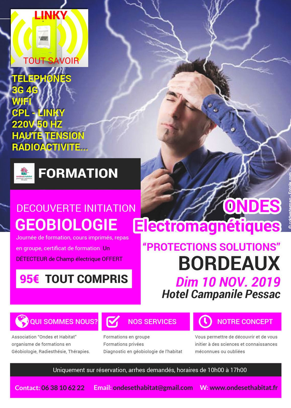 BORDEAUX Formation : Ondes Electro, Protections Solutions Dim 10 Nov 2019