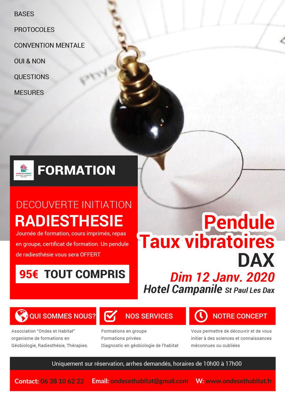 DAX Formation Radiesthésie : PENDULE, bases, protocoles, Taux Vibratoires 12 01 2020