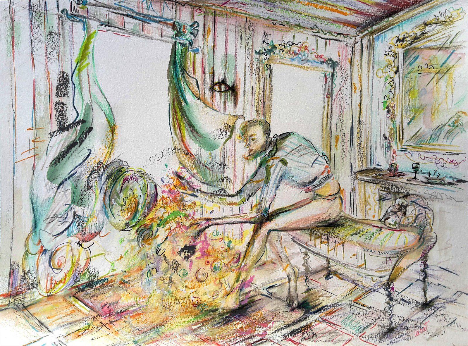 crayons aquarellables + mystère et boule de gomme !