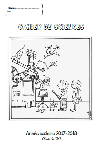 Page de garde : Cahier de sciences CM1-CM2