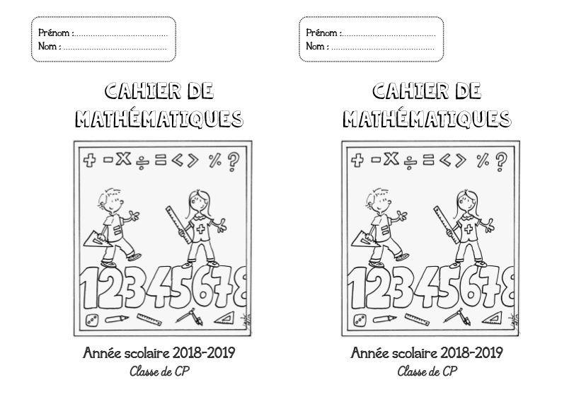 Page de garde: cahier de mathématiques -CP-CE1-CE2-CM1-CM2