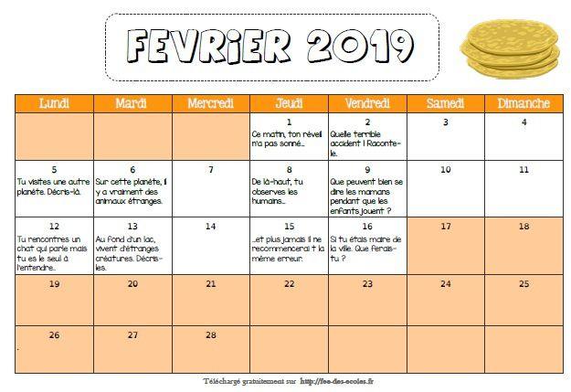 Calendrier d'écriture : Février 2019