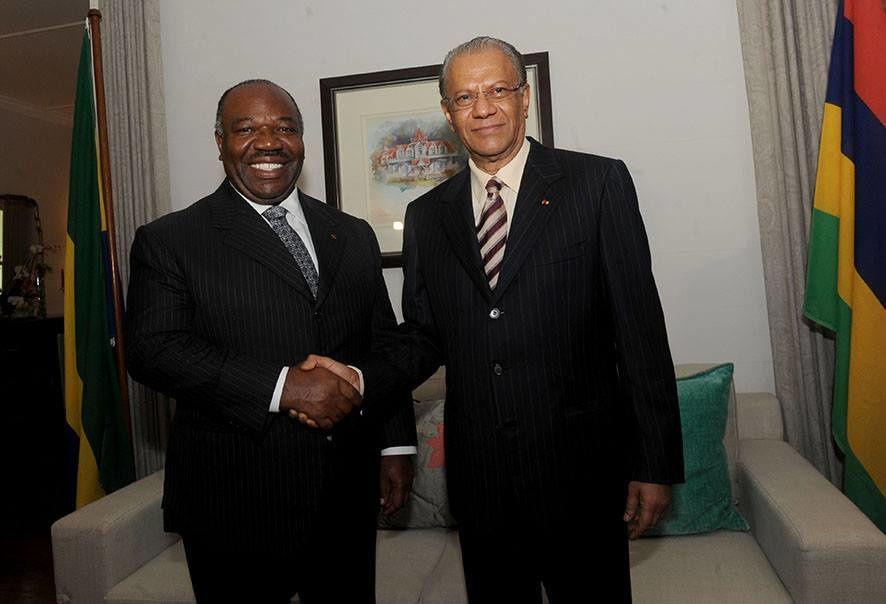 Le Président Ali Bongo Ondimba et le Premier Ministre mauricien, Navinchandra Ramgoolam
