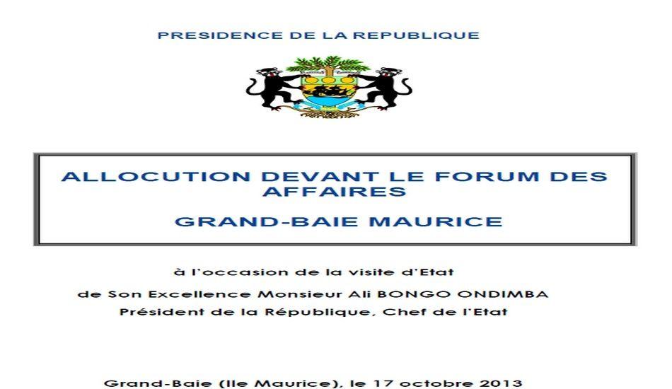 Forum des affaires Île Maurice: Discours du Président Ali Bongo Ondimba