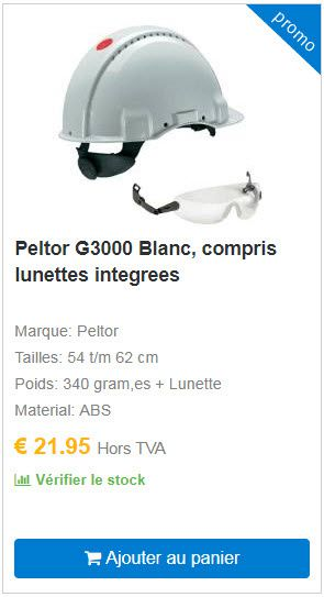 Peltor G3000 Blanc, compris lunettes integrees COOLSAFETY
