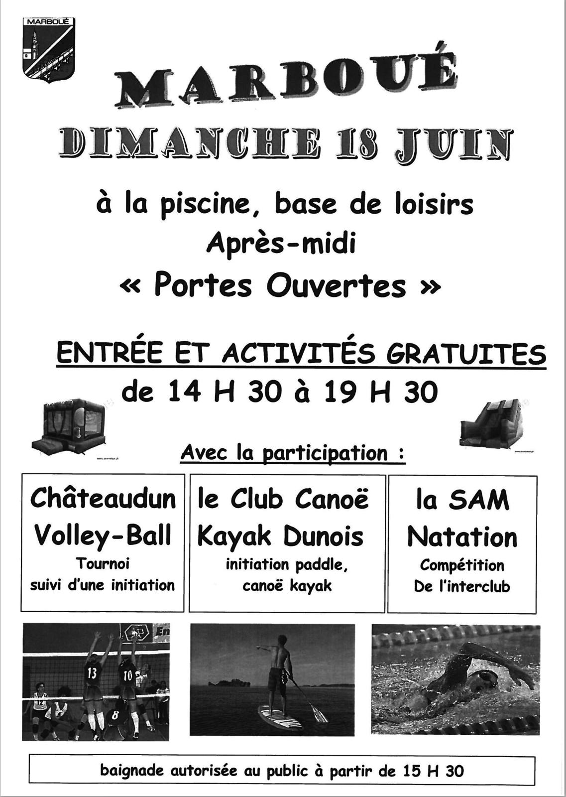 Marboué, portes ouvertes ce dimanche à la piscine