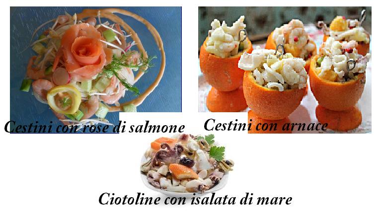 Insalata di mare in cestini con salmone in rose - Insalata di mare in cestini d'arancio - Insalata d mare in ciotola
