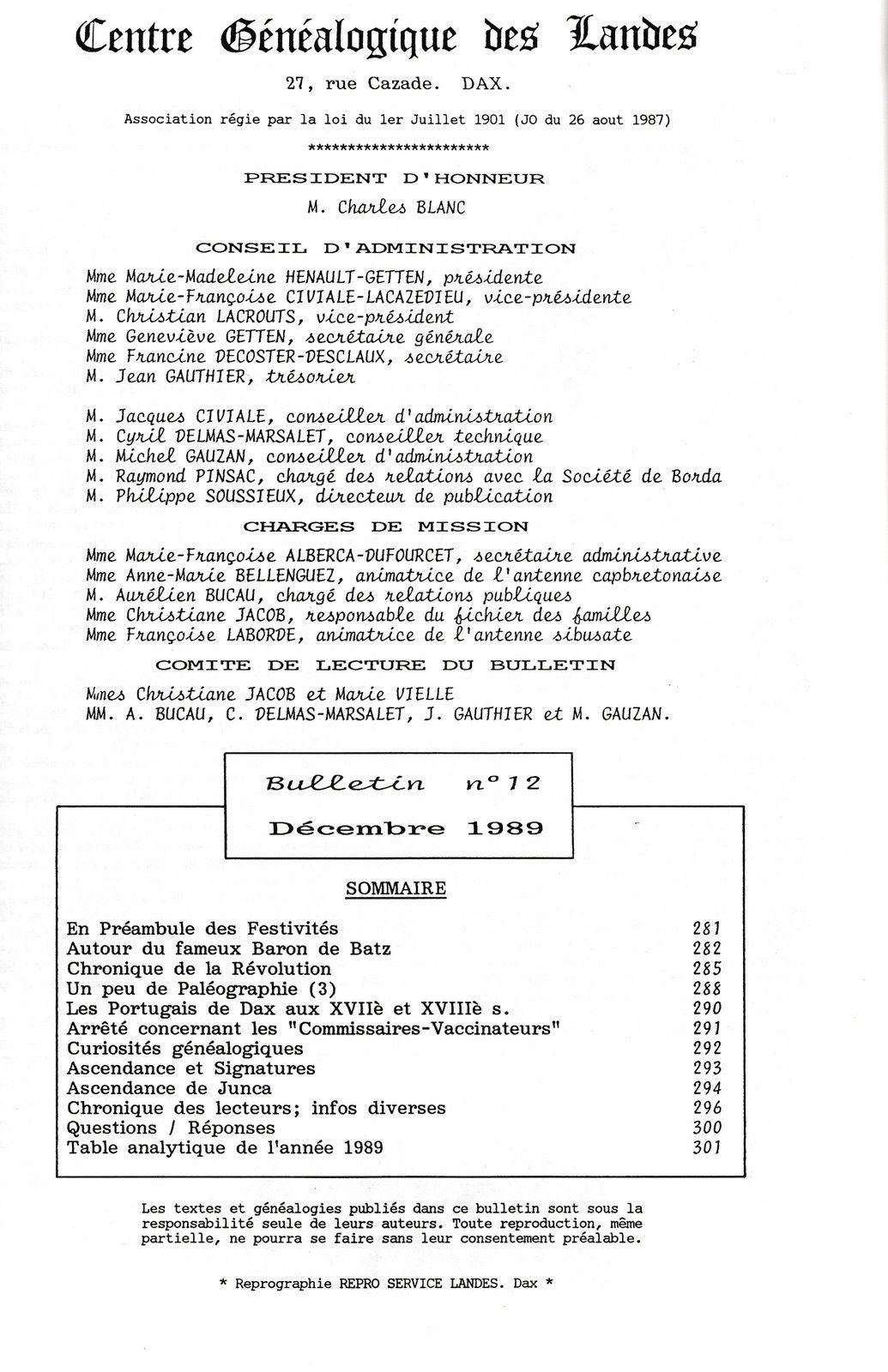 Reproduction du Bulletin du CGL N° 12 Décembre 1989
