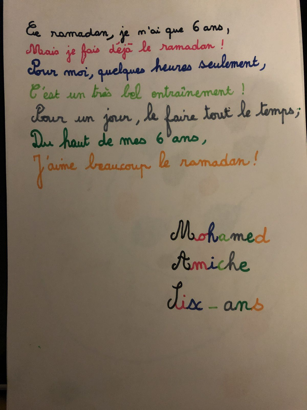 Participation 86 : Mohammed, 6 ans