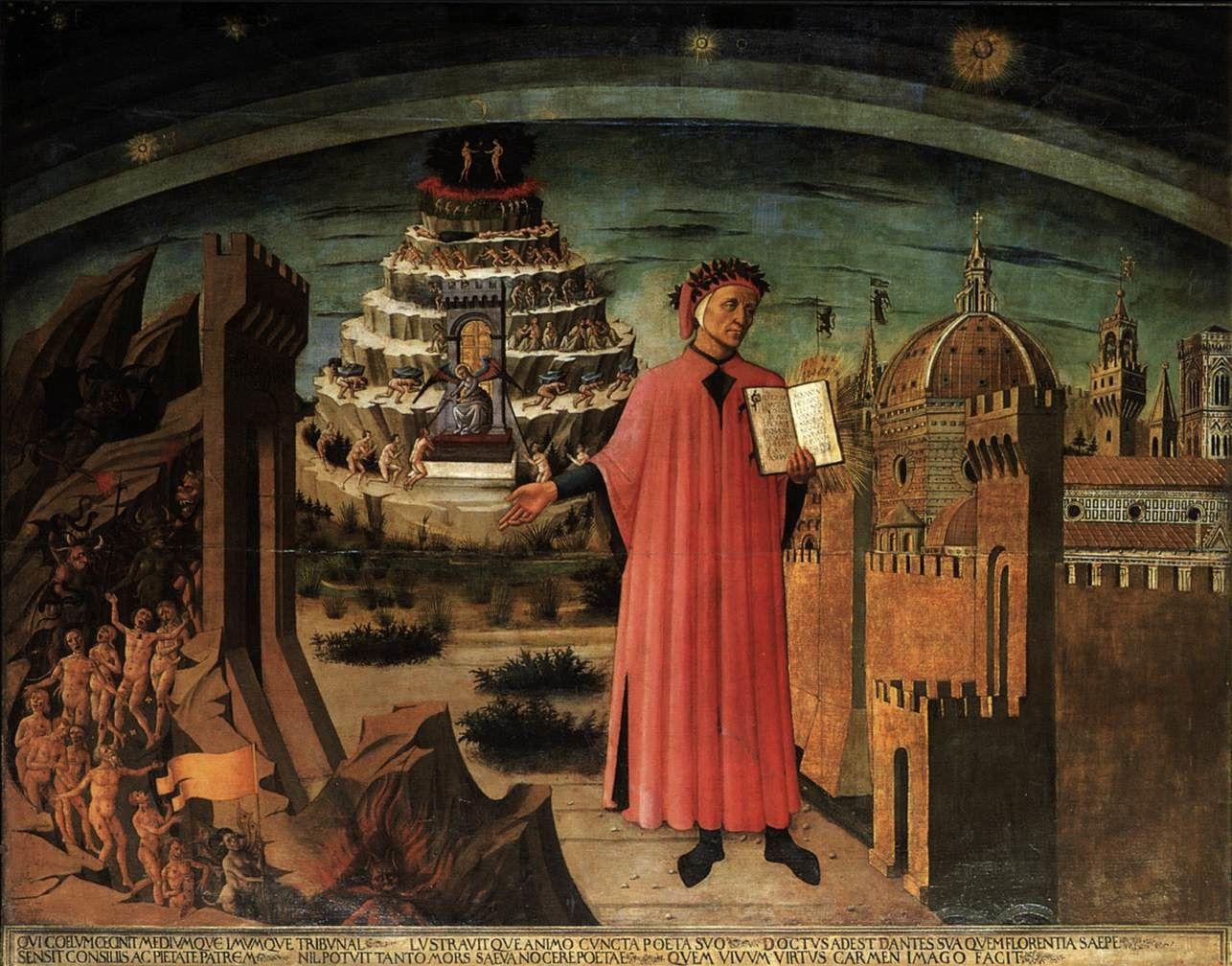 le Portrait de Dante Alighieri, la ville de Florence et l'allégorie de la Divine Comédie (1465) dans la nef de Santa Maria del Fiore. Dante est représenté au centre où il tient la Divine Comédie… À droite les morts descendent jusqu'aux enfers, à gauche le toit de la Basilique de Florence qui n'était pas encore construite à l'époque et enfin derrière Dante le purgatoire