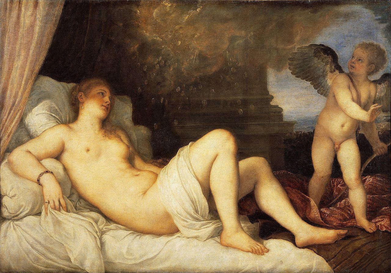 Danaé, 1544. Tiziano Vecellio 120 cm × 172 cm. National Museum of Capodimonte, Naples