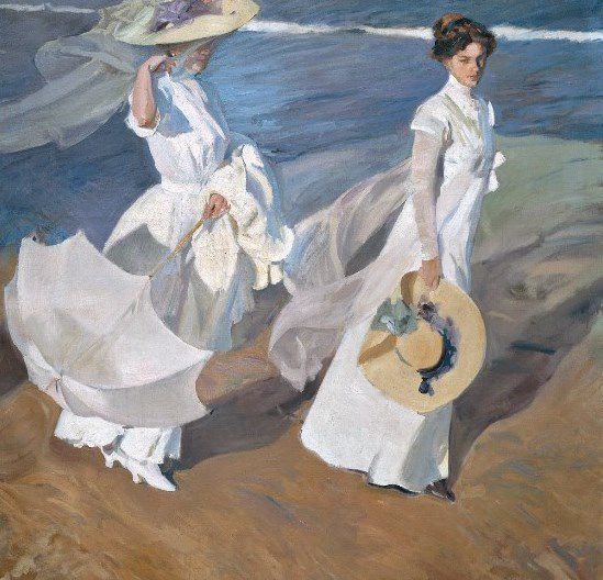 Strolling along the seashore - Joaquin Sorolla